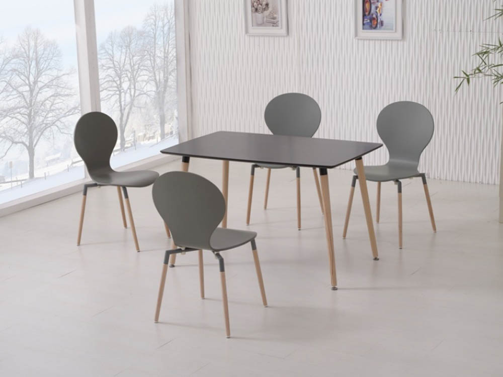 NAPLES DINING TABLE 120+4 CHAIRS BLACK