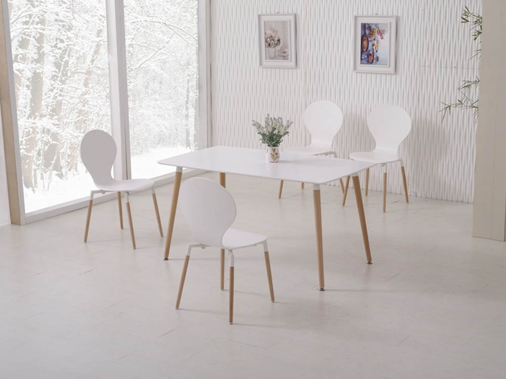 NAPLES DINING TABLE 120+4 CHAIRS WHITE