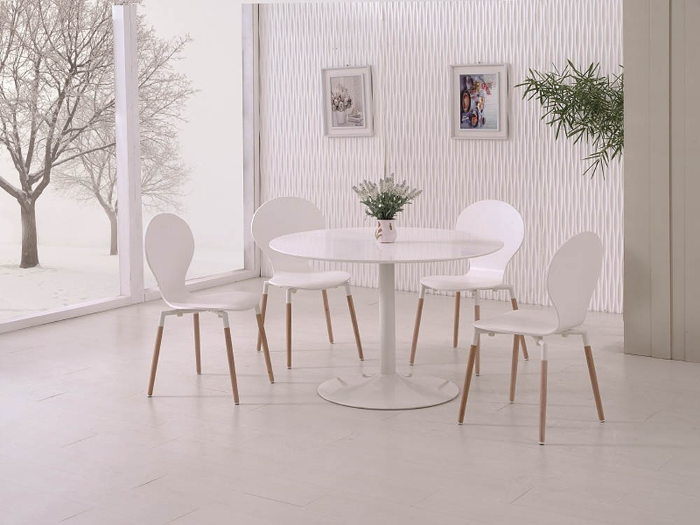 SNOW DINING TABLE +4 NAPLES CHAIRS