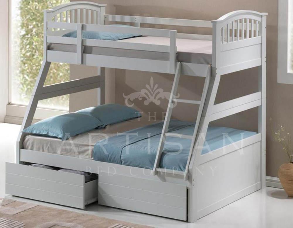 WHITE 3 SLEEPER 3'+4'6' INC DRAWERS