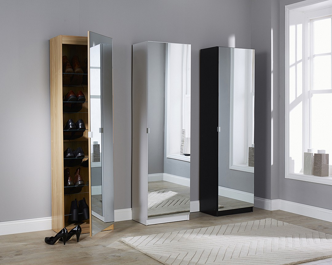 MIRRORED SHOE CABINET 150CM.