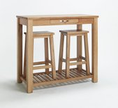 DENSLEY OAK BREAKFAST TABLE WITH STOOLS.