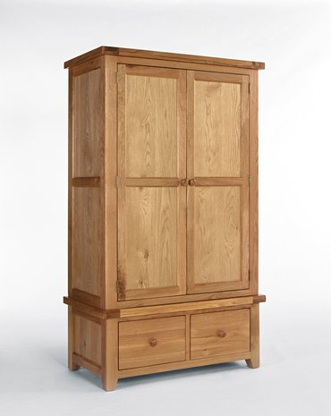 SOLID OAK DOUBLE BED,2 DRAW GENTS WARDROBE,2+3 CHEST DRAWS.