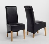 DENSLEY OAK ROLL TOP FAUX LEATHER CHAIRS X 2.