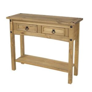 2 DRAW HALL TABLE WITH SHELF.