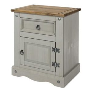 1 DOOR 1 DRAWER GREY BEDSIDE CABINET.