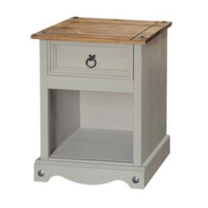 1 DRAWER BEDSIDE GREY CABINET.