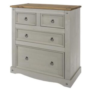 2+2 DRAWER GREY CHEST.