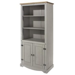 2 DOOR 2 SHELF GREY BOOKCASE.