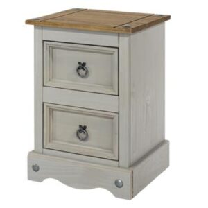 2 DRAWER GREY PETITE BEDSIDE CABINET.