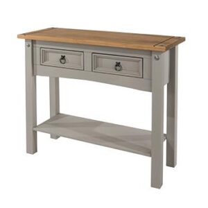 2 DRAWER GREY HALL TABLE.