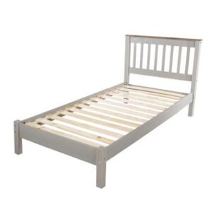 3' SLATTED GREY LOWEND BEDSTEAD.