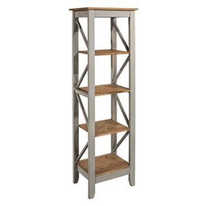 5 TIER NARROW GREY SHELF UNIT.