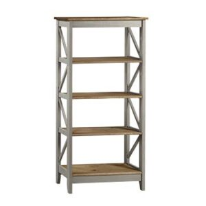 5 TIER WIDE GREY SHELF UNIT.