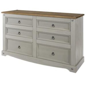 3+3 DRAWER GREY WIDE CHEST.