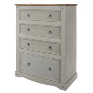 4 DRAWER GREY CHEST.