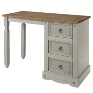 SINGLE GREY PEDESTAL DRESSING TABLE.