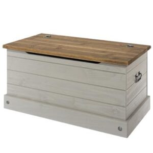 GREY STORAGE TRUNK.