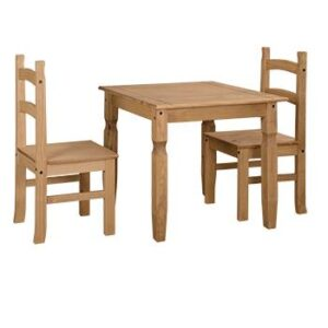 SQUARE DINING TABLE WITH 2 CHAIRS.