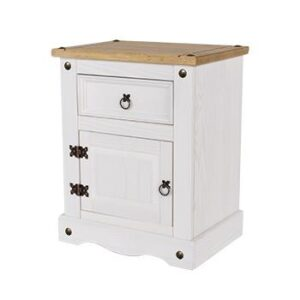 1 DOOR 1 DRAWER BEDSIDE WHITE CABINET.