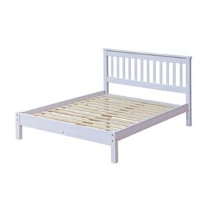 4'6'' WHITE SLATTED LOWEND BEDSTEAD.
