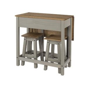 GREY BREAKFAST DROP LEAF TABLE + 2 STOOLS.