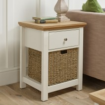COTSWOLD CREAM 1 DRAWER LAMP TABLE.