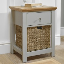COTSWOLD GREY 1 DRAWER LAMP TABLE.
