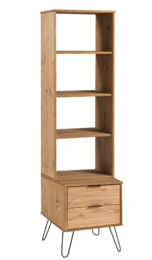 AUGUSTA 2 DRAWER NARROW BOOKCASE.
