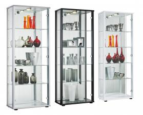 SELBY 2 DOOR DISPLAY  UNIT SILVER.