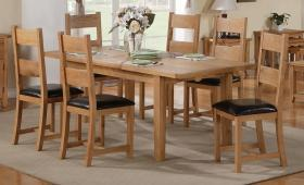 DENSLEY OAK EXTENDING DINING TABLE + 6 CHAIRS.