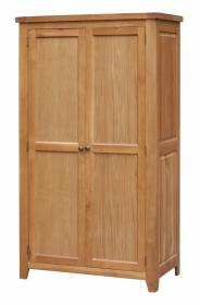 BROCTON SOLID OAK 2 DOOR WARDROBE.