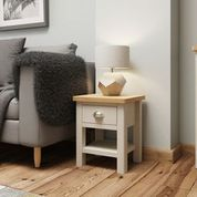 1 DRAWER LAMP TABLE. DOVE GREY.